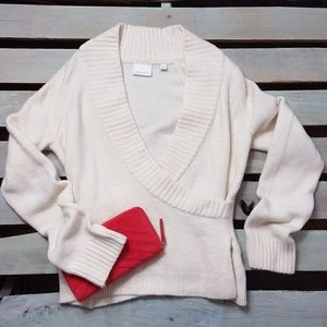 Anthropologie Sweater Faux Wrap Wide Neckline